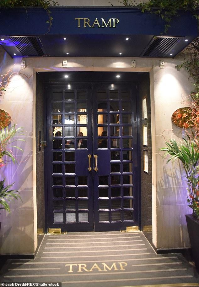 The fashionable Tramp nightclub in Jermyn Street, Mayfair, London, which is open until 5am