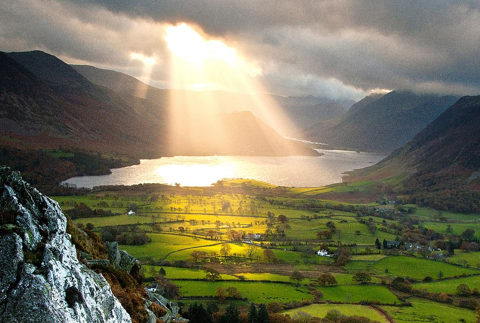 Let there be light: A sun-scald is a patch of bright sunlight bursting through the clouds onto the surface of water, like this scene in the Lake District
