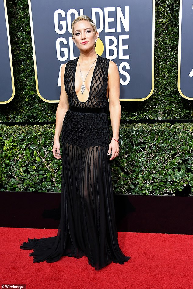 Actor Laurence Fox has slammed stars who wore 'revealing' black dresses to support Time's Up campaign at the Golden Globes – and rages that Harry and Meghan are 'ultra-woke hypocrites'. Pictured: ActressKate Hudson attends The 75th Annual Golden Globe Awards