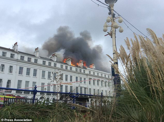 Twelve fire engines were sent to deal with the blaze at the historic Claremont Hotel