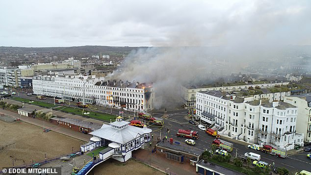 Some 12 fire engines, as well as ambulances, have been sent to the Claremont hotel