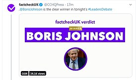 Unsurprisingly, the FactCheckUK verdict was Boris Johnson was the 'clear winner'