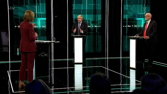 The hour-long election debate took place in a glitzy studio set up by ITV at studios in Salford this evening and was a high-tempered affair