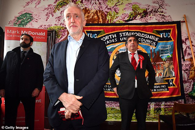 But Mr Corbyn will be hoping to use the big set piece event to overhaul the Tory lead. The Labour leader is pictured today at Fenton Town Hall