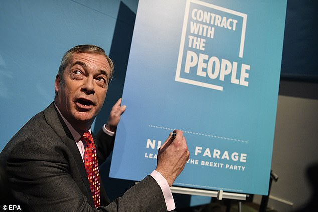 Nigel Farage today unveiled and signed the Brexit Party's 'contract with the people' which set out a series of policy pledges. He is not taking part in this evening's event