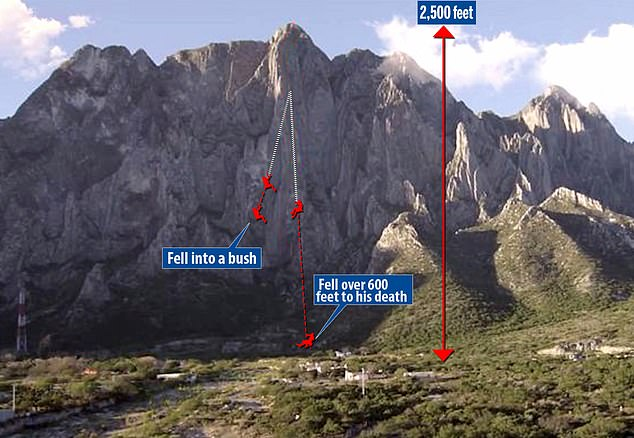 The pair descended the 2,500-foot mountain, but misjudged the length of rope they had on either side - with Gobright having less than he thought. And as they hadn't tied knots into the rope, when it reached its end it slipped out of his rappel device, causing him to fall 600-feet