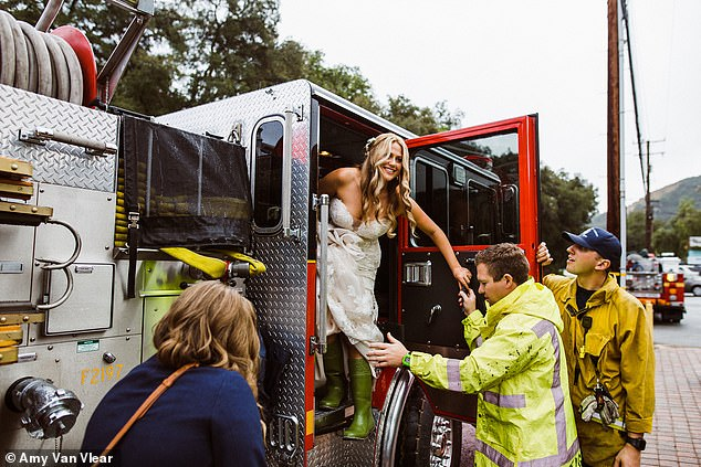 The bride and the bridesmaids were invited onto the fire truck and given a Code 3 escort the wedding venue