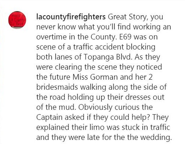 Amazing: After seeing the image hung up at the station this week, a representative for the Los Angeles County firefighters shared it on Instagram, and the sweet story went viral