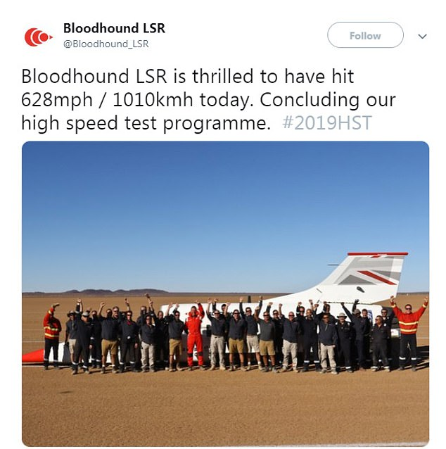 The landbound jet known as Bloodhound LSR carried out the test run on a racetrack in the Hakskeenpan desert in South Africa this weekend