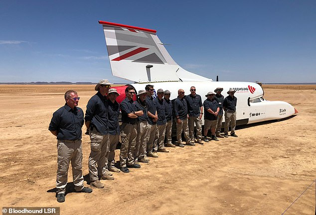 The jet-powered vehicle was flown to Johannesburg and then transported another 570 miles to the desert where tests have taken place
