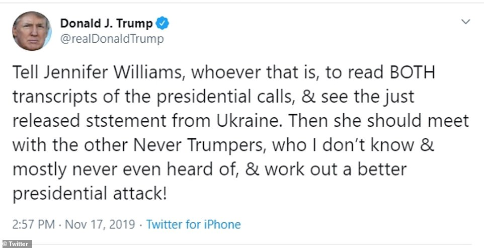Donald Trump bashed Mike Pence aide Jennifer Williams after it was revealed Saturday she told Congress in a closed-door testimony that his call with the Ukrainian president was'unusual and inappropriate'