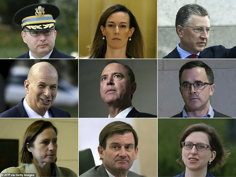 MUCH MORE THAN A HUNCH: A total of eight witnesses will testify in hearings overseen by Rep. Adam Schiff of California (center) this week