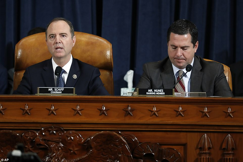 House Intelligence Committee Chairman Adam Schiff, left, and ranking member Rep. Devin Nunes started the hearing on Tuesday with their opening statements