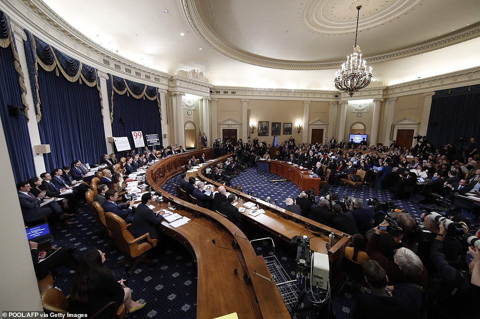 Trump faces more potentially damning testimony in the Ukraine scandal as a critical week of public impeachment hearings Tuesday in the House of Representatives (pictured)