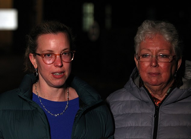 Pictured: Devastated Eve Parsons, the sister of Amy Parsons, and the victim's mother, Leonie Parsons, outside Snaresbrook Crown Court today