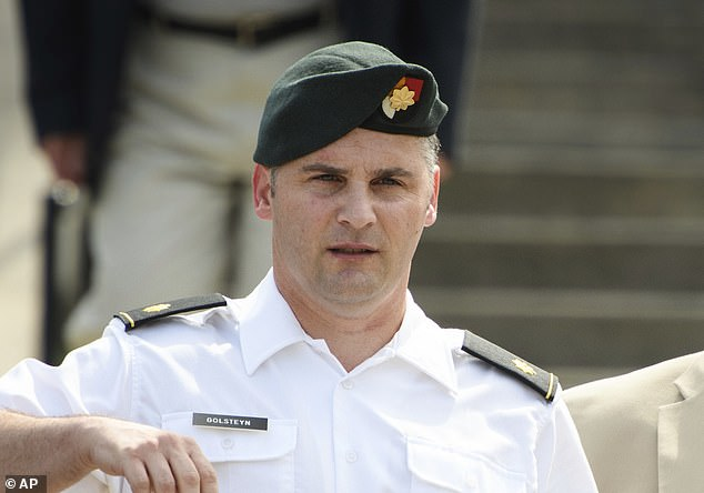 Major Mathew Golsteyn (pictured), an Army Special Forces officer who had been accused of killing a suspected bomb-maker, said he had believed the man was responsible for setting off an explosion that killed two US Marines