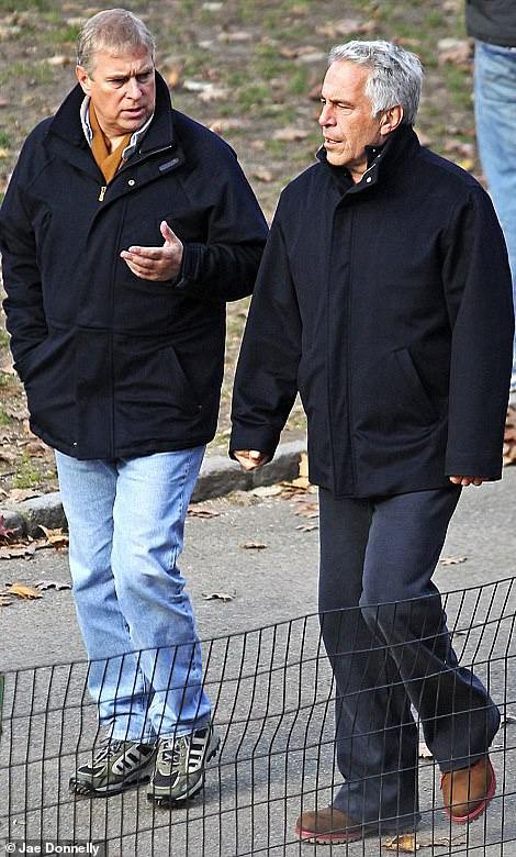 Pictured: Andrew walking in New York with Epstein following his conviction for sex offences