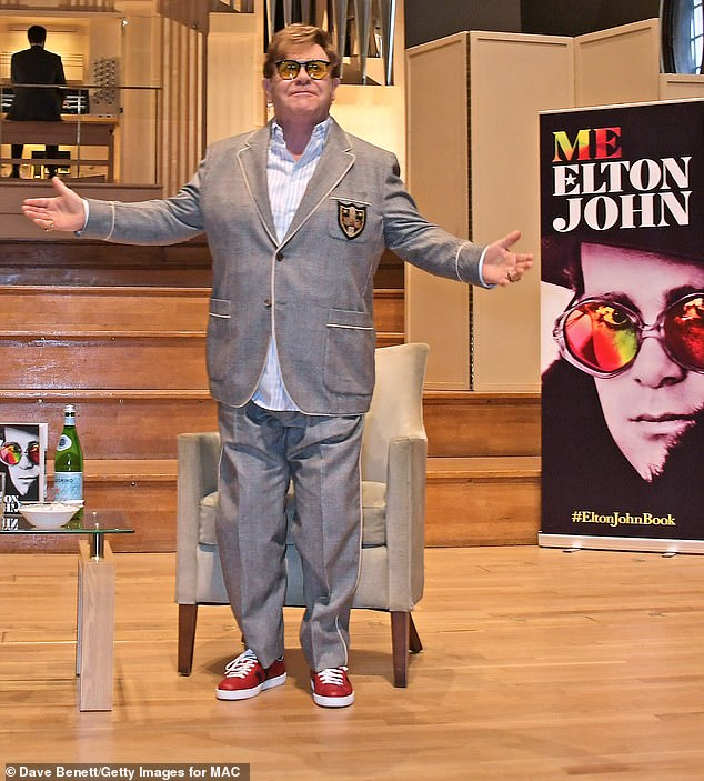 In his element: It comes after Elton returned to his old stomping ground, Marylebone's Royal Academy of Music, to promote his new memoir during a Q&A in London earlier in the day