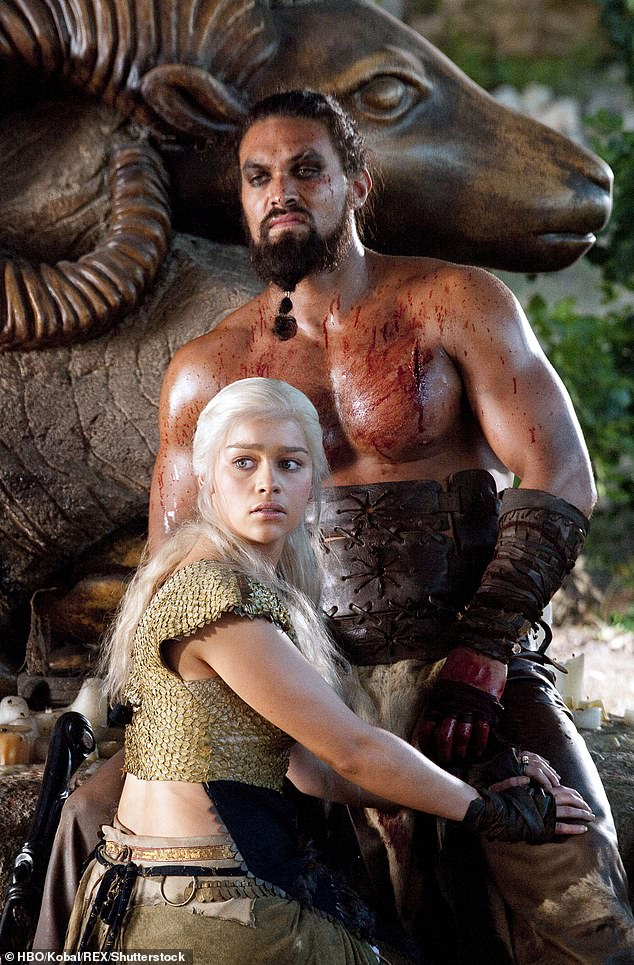 What a man: Jason Momoa, who played her lover, Khal Drogo, encouraged Emilia to only do what she felt comfortable with and said the nude scenes were 'not OK' (picture: series one )