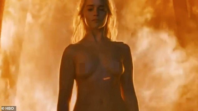 Not impressed: Feminist critics hit out at Emilia for one particular moment where Daenerys' clothes were burned off as she emerged from a fire (picture: series six - Emilia was aged 30)