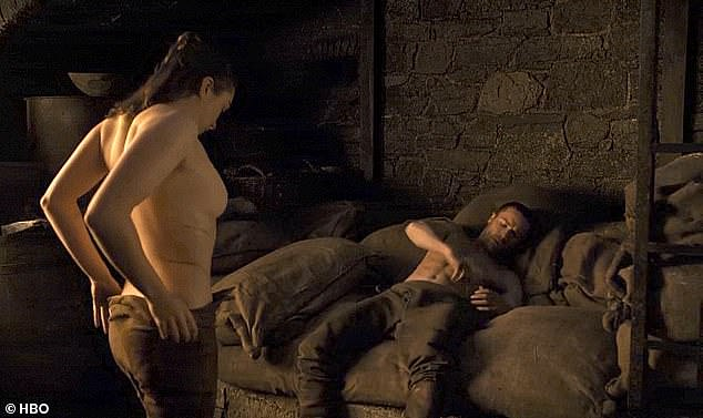 Up to her: Maisie Williams, 22, played Arya Stark and said bosses let her decide how much she wanted to show when she filmed a sex scene with Gendry (picture: season eight - filmed when she was aged 20)