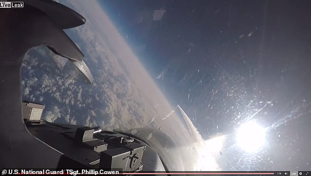 Video shared by US Air National Guard Technical Sergeant Phillip Cowen shows the moment when a 138th Fighter Wing Tulsa F-16 Viper clears through the air stream