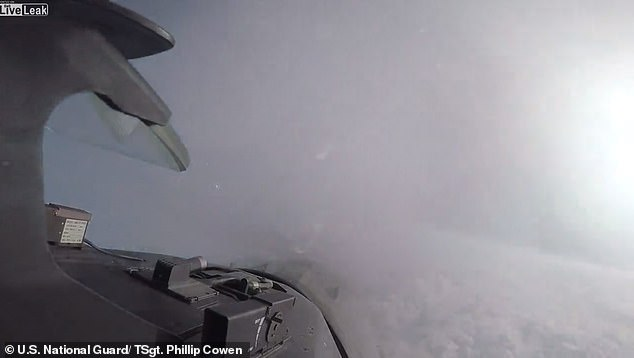 In the footage, the jet manages to fly in and out of the vapor stream