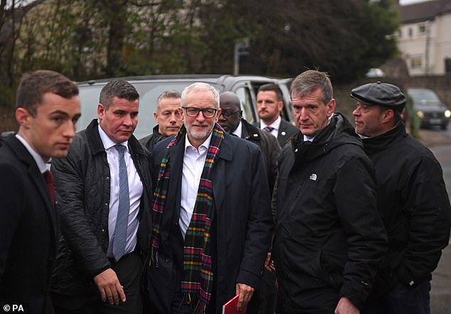 Labour Party leader Jeremy Corbyn (centre) being escorted into Dudley Pensioner Club by police after being heckled, while in Upper Gornal, West Midlands, on the General Election campaign following the launch of his party's manifesto