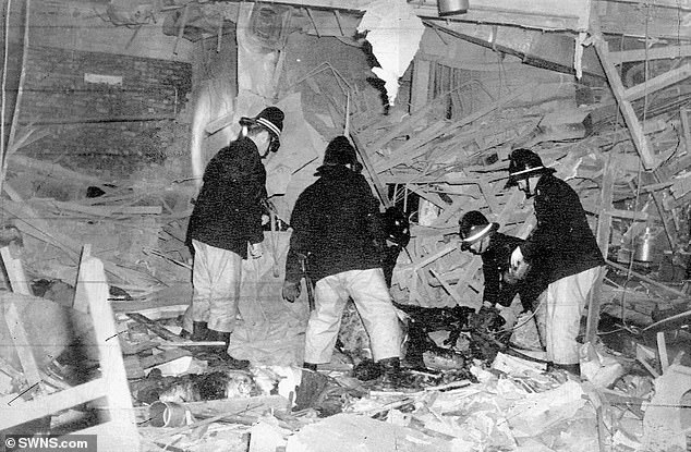 Firemen survey the damage, and look for survivors in the Mulberry Bush, after the Birmingham pub bombing. The IRA targeted two pubs on the 21 November 1974, killing 21 people and injuring 182