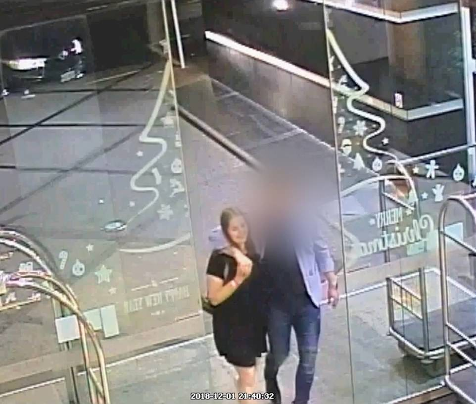 Harrowing CCTV shows smiling Grace entering the hotel holding the hand of her killer where he would take her life in his apartment