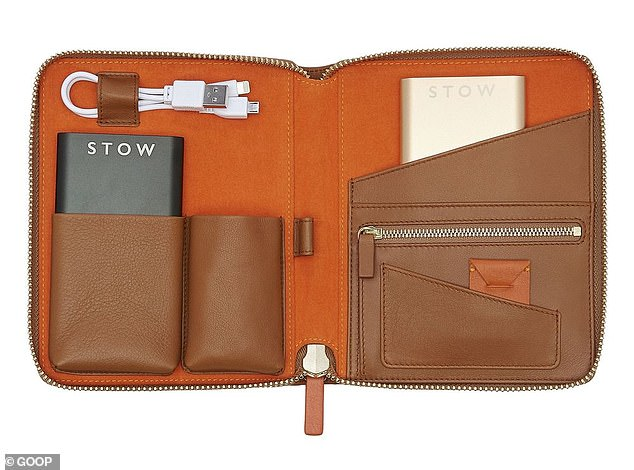 For the traveler Gwyneth suggests a $410 Stow travel tech case that fits small electronics and cords