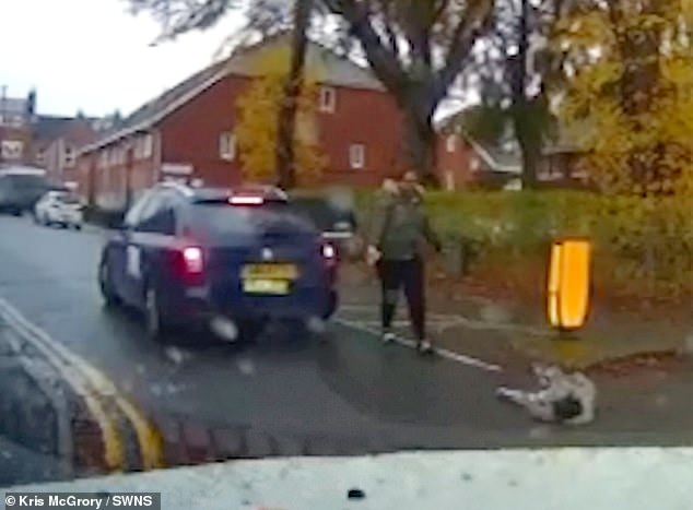 Kris McGrory, 38, a volunteer support worker, witnessed the frightening tumble in Earlsdon, Coventry on November 6 (the aftermath is pictured on his dashcam)