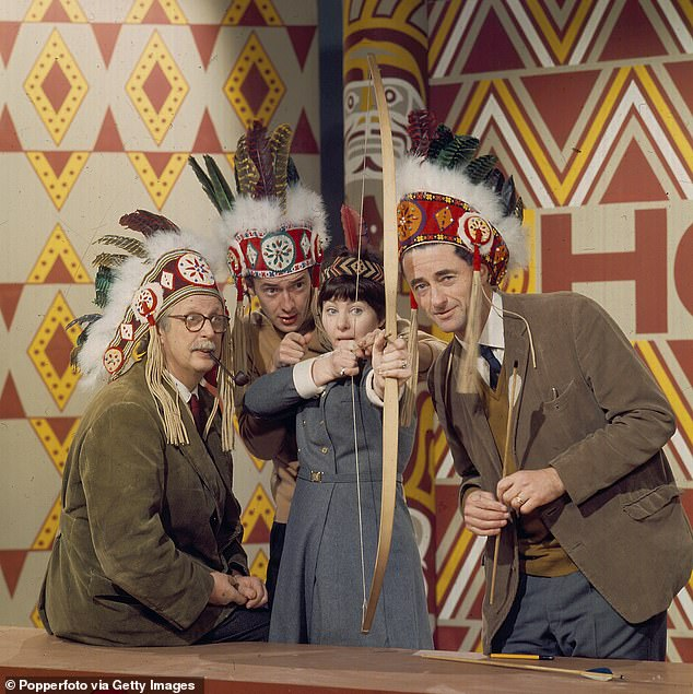 Pictured:Jack Hargreaves, Fred Dinenage, Jill Graham and Jon Miller on the set of How in 1968