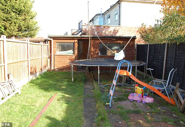 The garden shed where Ramanodge Unmathallegadoo hid before shooting his heavily pregnant ex-wife dead
