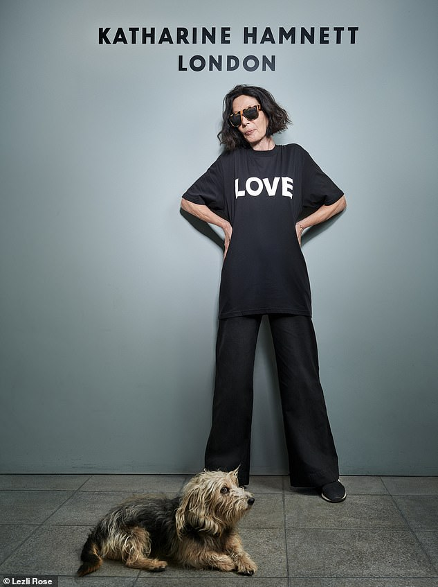 Katharine Hamnett, pictured, has admitted that she is horrified by the fashion industry's record on sustainability, and the fact that so many people commit suicide on cotton farms. Figures show around 300,000 have done so in the last 20 years