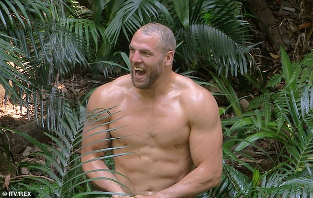 Cool down:In scenes aired on Monday night, James decided to brave the cold for his morning wash, with the makeshift shower operated by pouring water down an open pipe