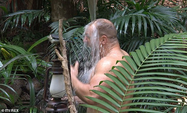 So chilly:The star later described his jungle shower as 'brisk'