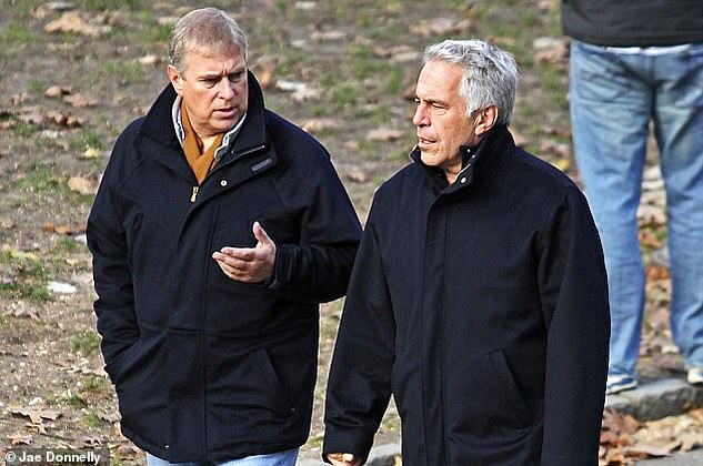 Pictured: Prince Andrew is pictured with Epstein in Central Park in New York in February 2011