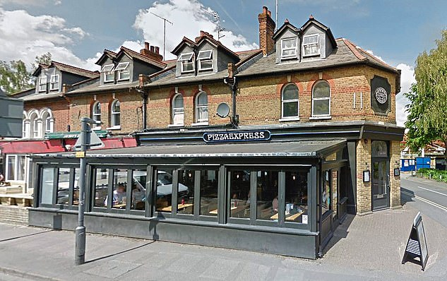 Home: Andrewinsisted he was 'at home with the children' on the night Miss Roberts alleged she was nightclubbing and later having sex with him.Exploring this alibi, Maitliss pressed further and Andrew volunteered that he could remember taking his daughter Beatrice to a Pizza Express in Woking, Surrey, (pictured) at between 4pm and 5pm that afternoon