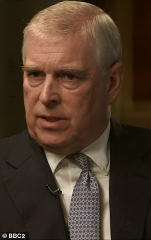 Denied: During theDuke of York's much-maligned BBC Newsnight interview,he denied having sex with billionaire paedophile Jeffrey Epstein's 'sex slave' Virginia Roberts