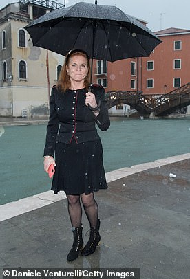 The Duchess of York is visiting Venice yesterday after it was submerged by floods as storms and winds brought misery to the city