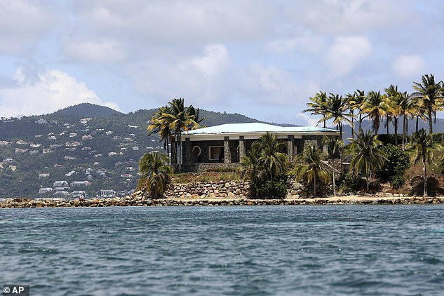 Island: A view of Jeffrey Epstein's stone mansion on Little St. James Island (pictured above) - where Andrew was accused of taking part in an orgy in 2015 court documents