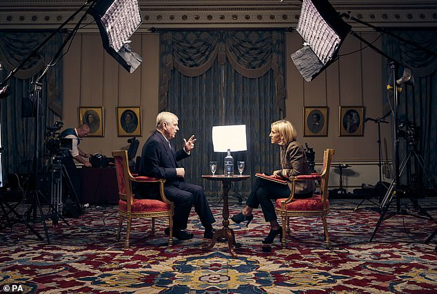 Speaking out: The Duke of York, speaking for the first time about his links to Jeffrey Epstein in an interview with BBC Newsnight's Emily Maitlis