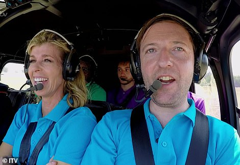 Here they go! The celebrities were then split into two groups before boarding the helicopters