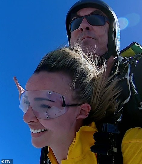 Amazed: Eventually Nadine completed the jump and enjoyed the experience with a delighted grin as she descended from the plane