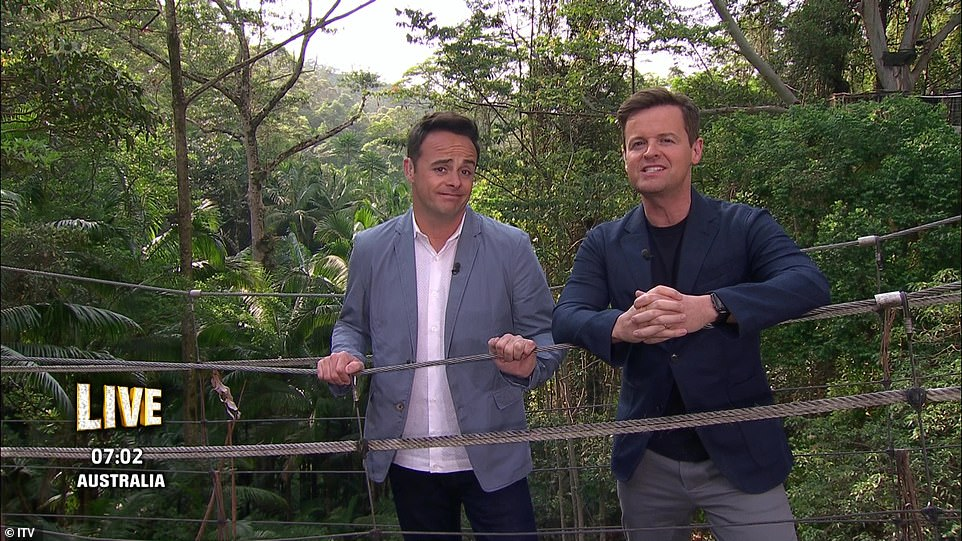 Funny:Ant didn't avoid pointing out his break from TV duties last year, and after Dec struggled to deliver a line he said: 'I've had a year off what's your excuse?'
