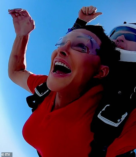 Giddy: Caitlyn also loved the challenge after saying she'd always wanted to skydive after 40 years as a licenced pilot