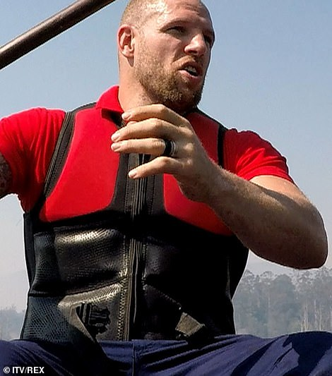 Wet: Meanwhile James got into the water to steer a canoe as part of a challenge to win the privileges on th