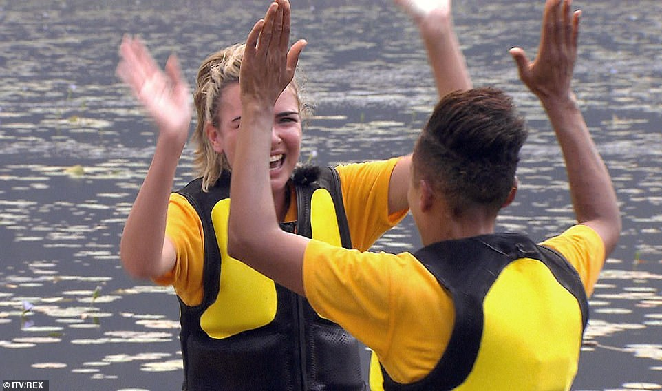 They're done! It was then revealed that Nadine and Adele completed it in the fastest time despite her screaming and joined Myles and Roman as the two power pairs