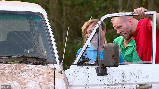 Creeped out: Mud was the least of their worries when the celebs realised they were locked in with spiders